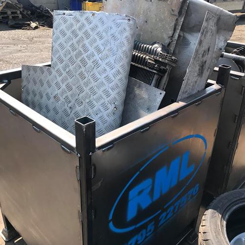 Metal RML Bin filled with scrap metal