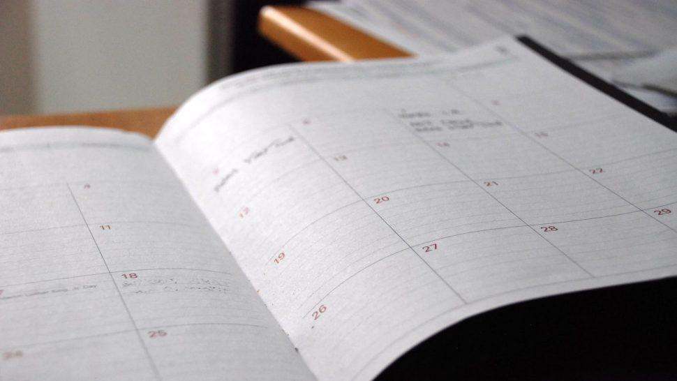 close up on an open calendar book